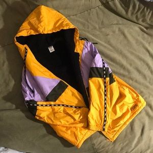 PINK yellow jacket with a black sherpa lining